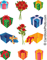 gifts - The vector illustration representing is a lot of...