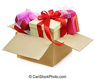 Gifts in a Cardboard box on white background