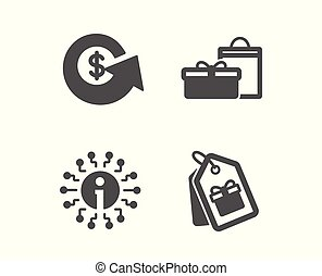 Gifts, Info and Dollar exchange icons. Coupons sign. Birthday boxes, Information, Money refund. Shopping tags. Vector