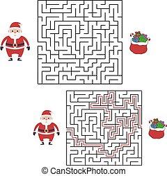 gifts., olhar, labirinto, natal, vetorial, caricatura, escola, santa, jogo, pré-escolar, kids.