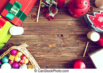 Gifts on a wooden rustic table with copy space. Christmas background. View from above. Flat lay
