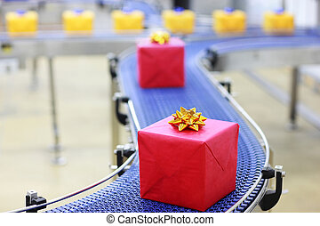 Gifts on conveyor belt