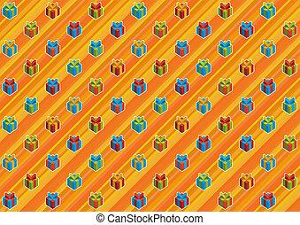 Gifts on orange - Orange rainbow packing paper.
