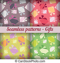 Gifts. Seamless pattern. Vector set. Abstract background.