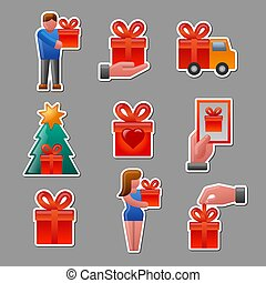 gifts stickers set