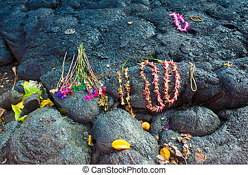 Gifts to Goddess Pele - Gifts left for the goddess of...