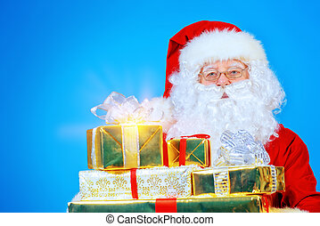 gifts tradition - Portrait of a traditional Santa Claus with...