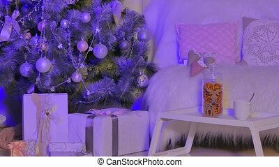 gifts under a christmas tree - gifts, beautifully decorated...