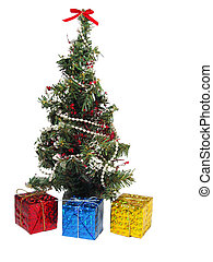 Gifts Under the Tree - Colorful foil-wrapped gifts under the...