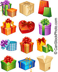 Gifts - Vector illustration - gift box icon set