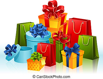 gifts - Vector illustration - gift boxes and shopping bags