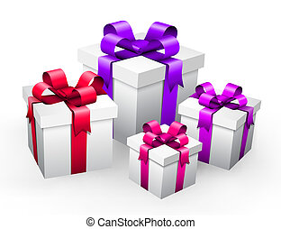 Vector illustration of gifts isolated on white.