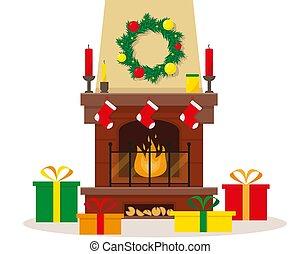 gifts., weihnachten, kaminofen, dekoration