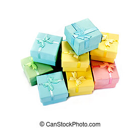 Giftwrap - Varicoloured small boxes for gifts are isolated ...
