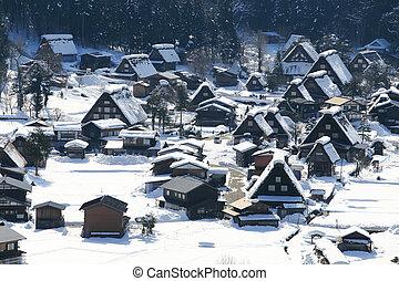 gifu, mondiale, shirakawago, historique, village, héritage, ...
