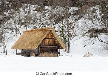 gifu, shirakawago, 역사적이다, 일본, 마을