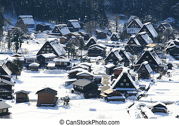 gifu, värld, shirakawago, historisk, by, arv, japan