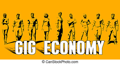 Gig Economy Concept With Business Professionals Standing in...