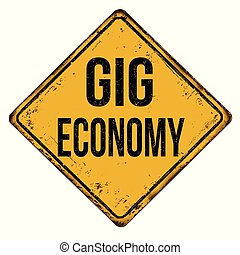 Gig economy grunge rubber stamp on white background, vector...