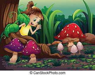 gigante, árvore, menina jovem, raizes