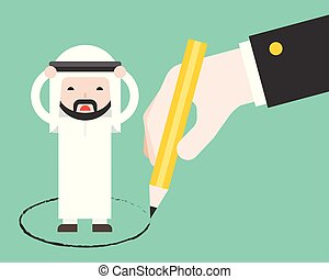 gigante, affari, mano, arabo, altro, trappola, disegnato, cerchio, uomo
