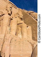 gigante, antiga, esculturas, egípcio, pharaohs, templo, vista
