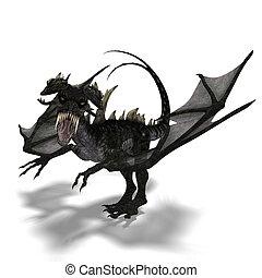 gigante, ataques, dragón, terrifying, cuernos, alas