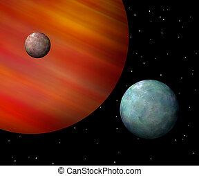 gigante, avermelhado, gás, luas, orbiting, horizontais