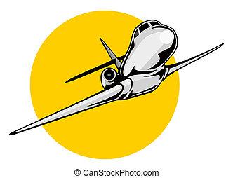 gigante, avião, jato