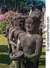 gigante, buddha, -, bronce, estatua, en, el, po, lin, monastery.