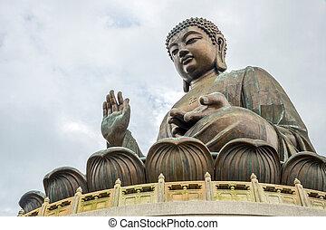 gigante, buddha, en, po, lin, monasterio, hong kong