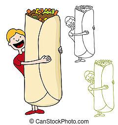 gigante, burrito, tenencia, hombre