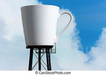 gigante, caffè, torre, serbatoio, tazza