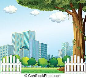 gigante, cerca, de madera, árbol, edificios, alto, a través...