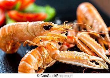gigante, crawfish, su, platter., macro, chiudere