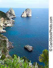 gigante, faraglioni, isola, famoso, capri, pietre