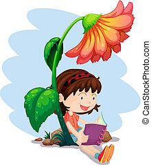 gigante, flor, abaixo, livro, leitura menina