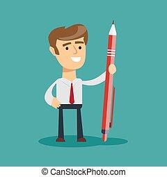 gigante, homem, caneta, negócio, segurando