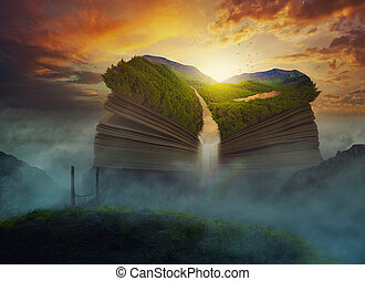 gigante, libro, nubi, sopra
