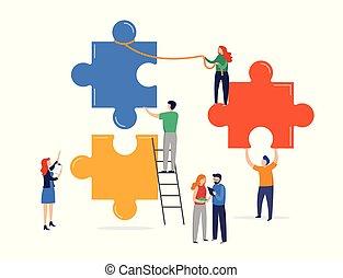 gigante, metaphor., elements., pessoas, conceito, quebra-cabeça, sociedade, minúsculo, conectando, cooperação, trabalho equipe