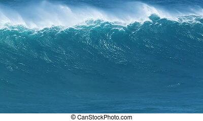 gigante, oceano azul, onda