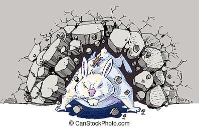 gigante, parede, através, coelho, rato, caricatura, bata