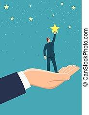 gigante, portata, mano, porzione, stelle, uomo affari, fuori