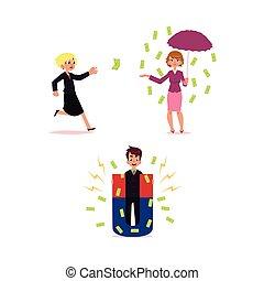 gigante, soldi, volare, pioggia, magnete, donna, uomo