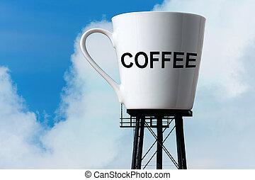 gigantesco, tazza, caffè, torre