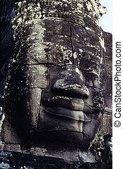 gigantesque, angkor, temple-, cambodi, statues, wat, figure, khmer, ruines
