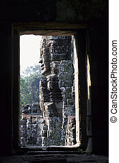 gigantesque, angkor, temple-, cambodi, statues, wat, figure, khmer, ruines