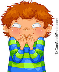 giggling boy - little boy giggling with his hands on his...