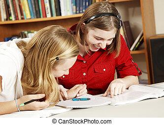 Giggling School Girls