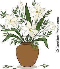 gigli, fiori, vaso